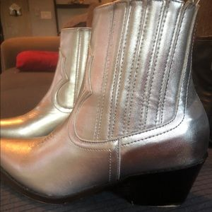 Silver ankle cowboy boots